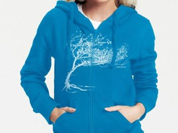 Peaces.bio - Exclusive Biomode aus der Steiermark Produkt-Beispiele Bio-Damen Kapuzenjacke Windy Tree