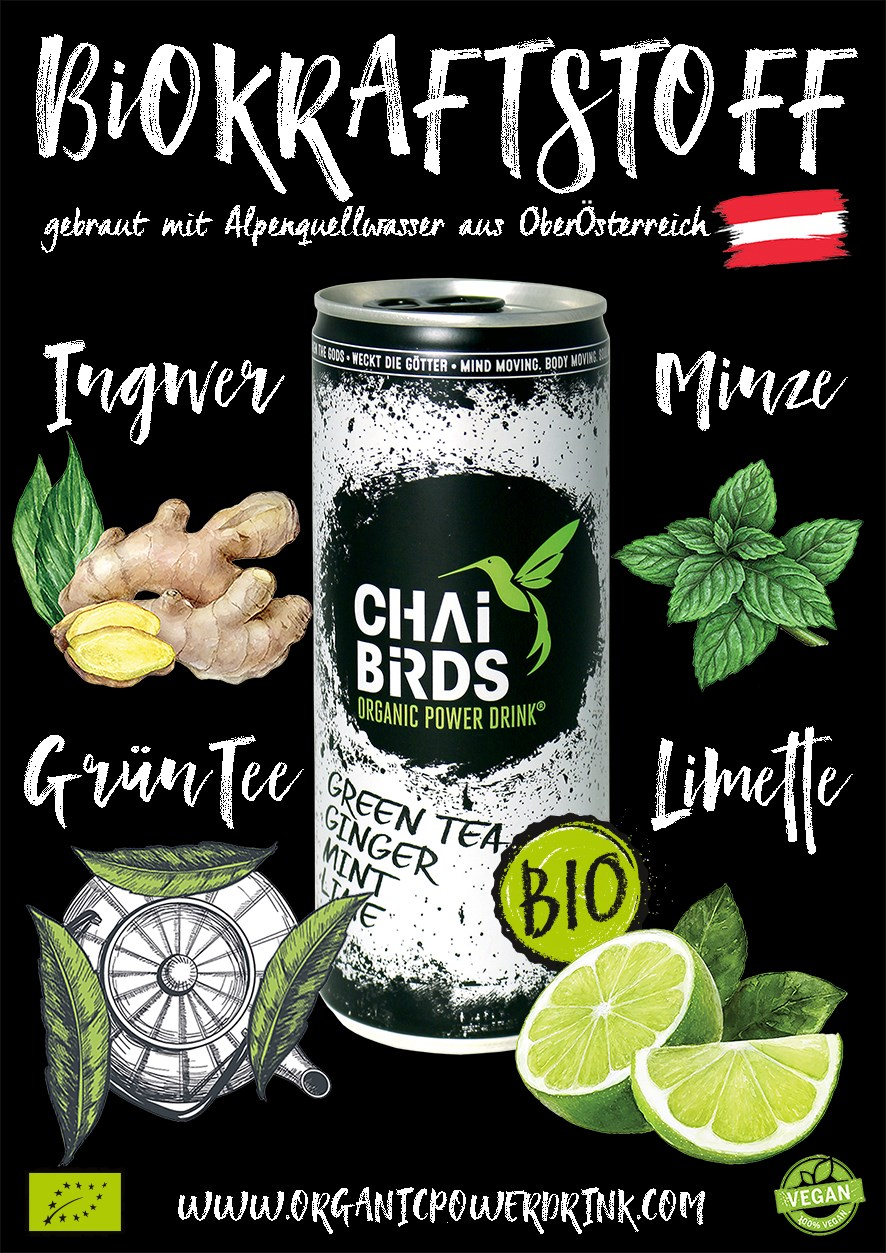 GOODY FOODY CATERING & CHAi BiRDS - ORGANIC POWER DRINK |  verfügbare Produkte CHAi BiRDS - ORGANIC POWER DRINK